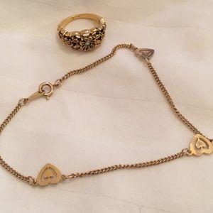 Avon Heart Bracelet & Filigree Ring Gold Tone